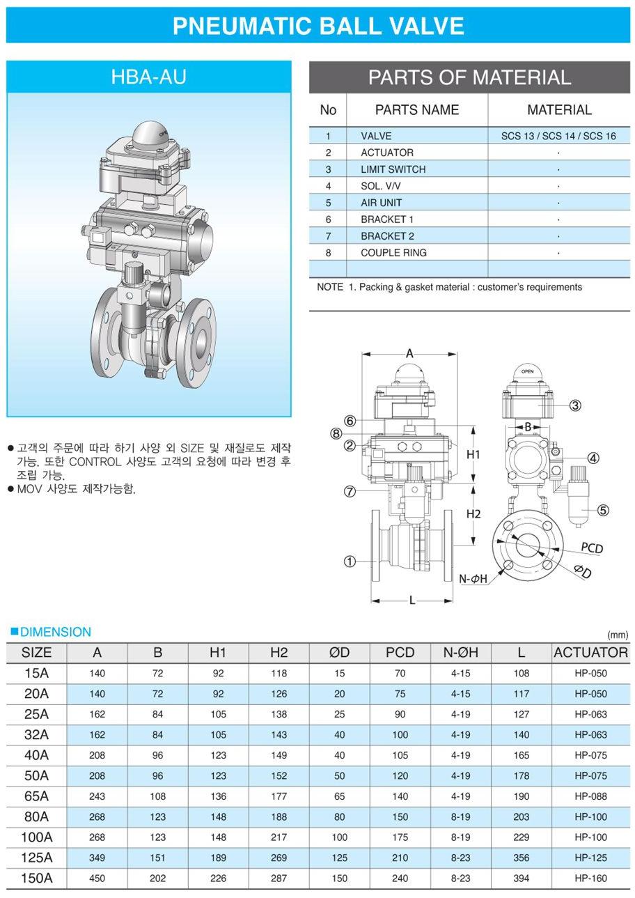 (주)신흥밸브공업 Pneumatic Ball Valve HBA-AU
