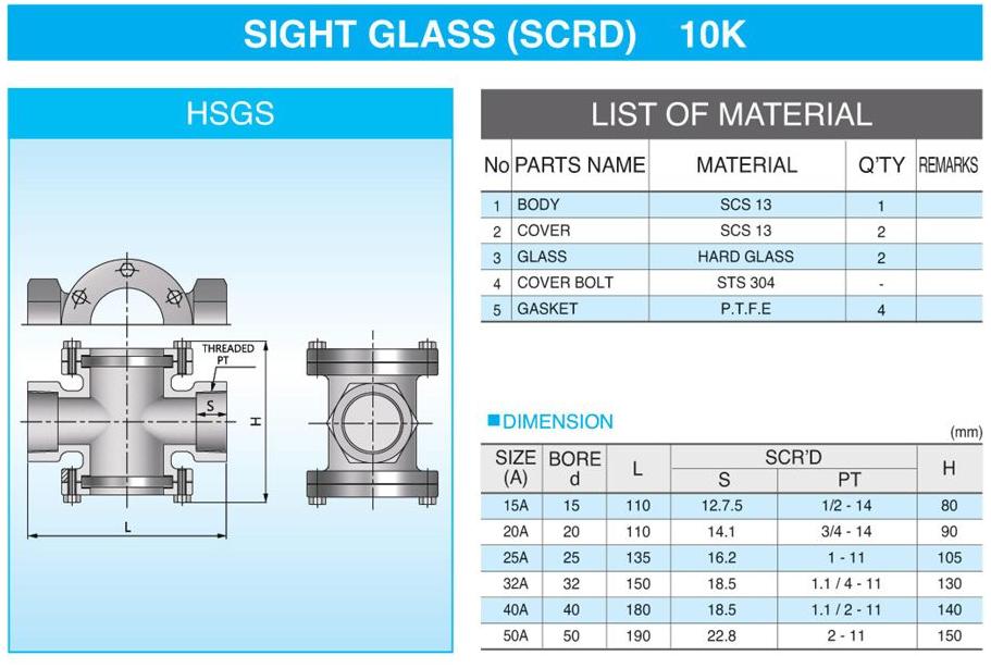 (주)신흥밸브공업 Sight Glass (SCR`D) HSGS