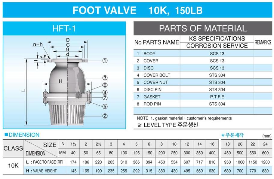 (주)신흥밸브공업 Foot Valve HFT-1