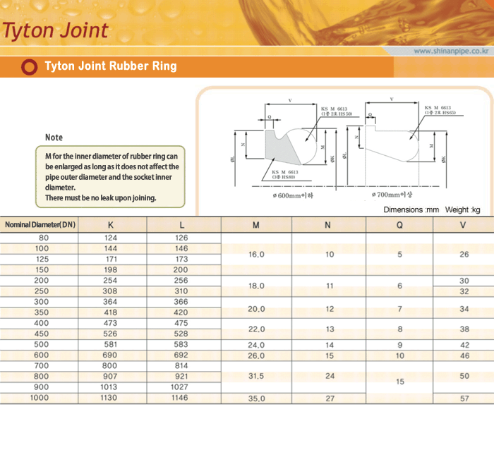 SIN AN CAST IRON Tyton Joint Rubber Ring