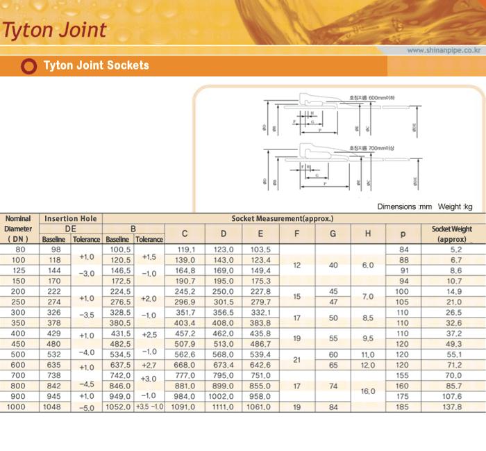 SIN AN CAST IRON Tyton Joint Sockets