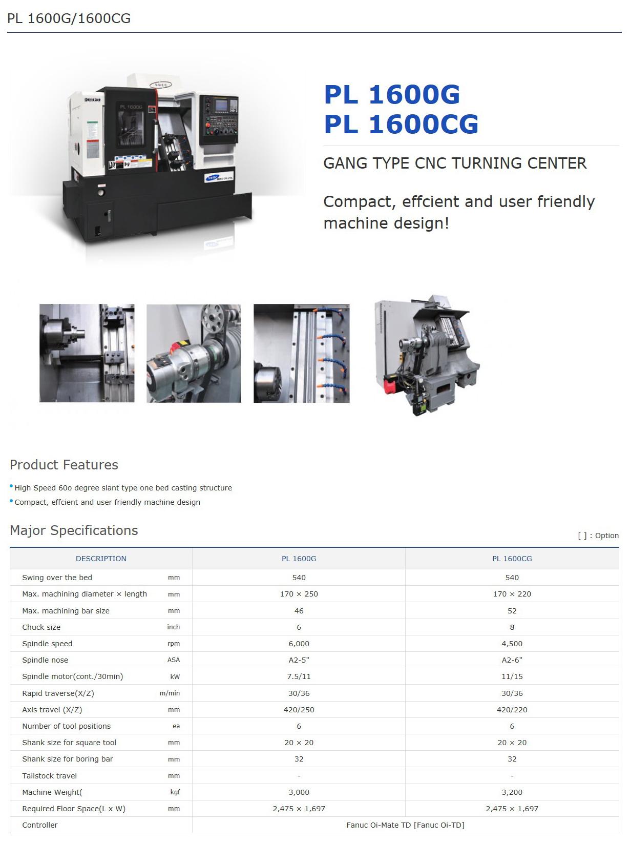 SMEC Gang Type CNC Turning Center PL 1600G, PL 1600CG