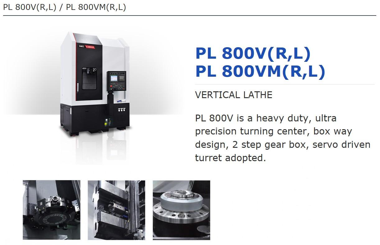 SMEC Vertical Lathe PL 800V, PL800VM