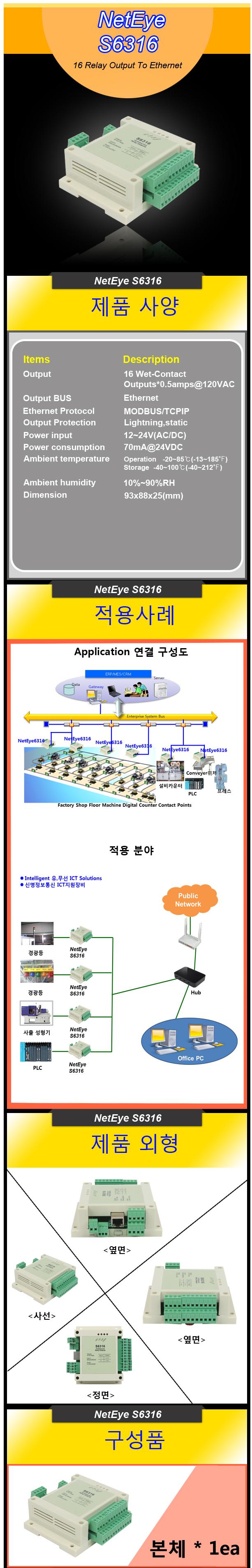 (주)신명정보통신  NetEye S6316 (16 relay outputs)
