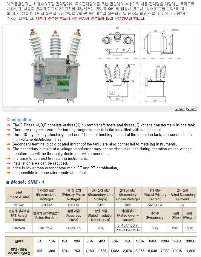 (주)삼능 계기용 변압 변류기 (M.O.F) SNM-1