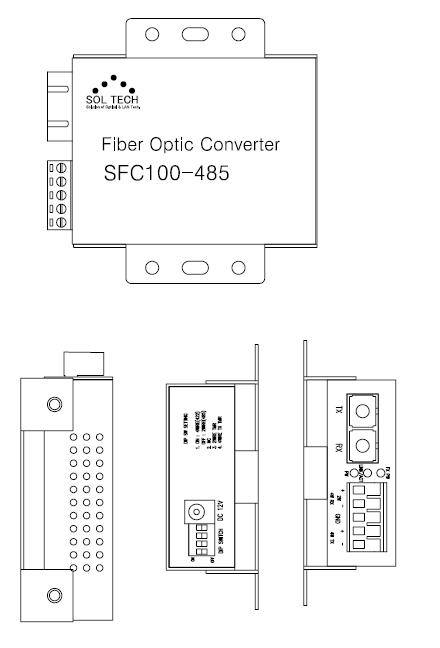 Sol-Tech Fiber Optic Serial Converter SFC100-485 1