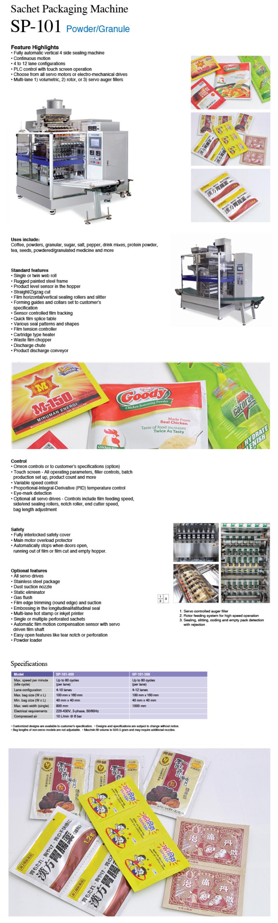 SOLPAC PACKAGING SOLUTION Sachet Packaging Machine (Powder / Granule) SP-101