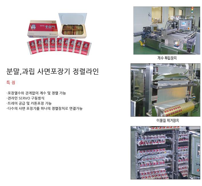 (주)소마 분말, 과립 사면포장기 정렬라인 SM-370S 1
