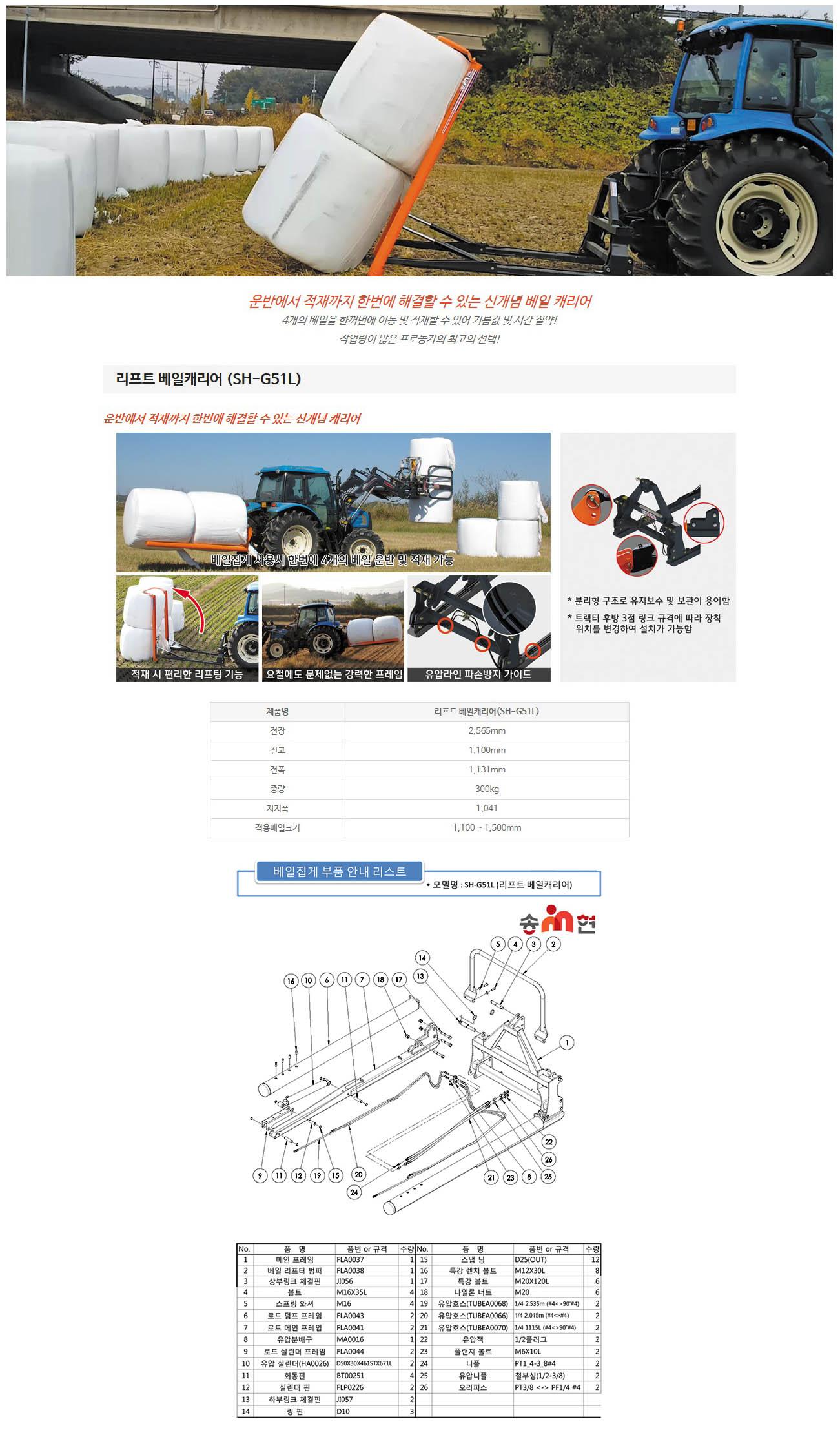 송현 리프트 베일캐리어 SH-G51L