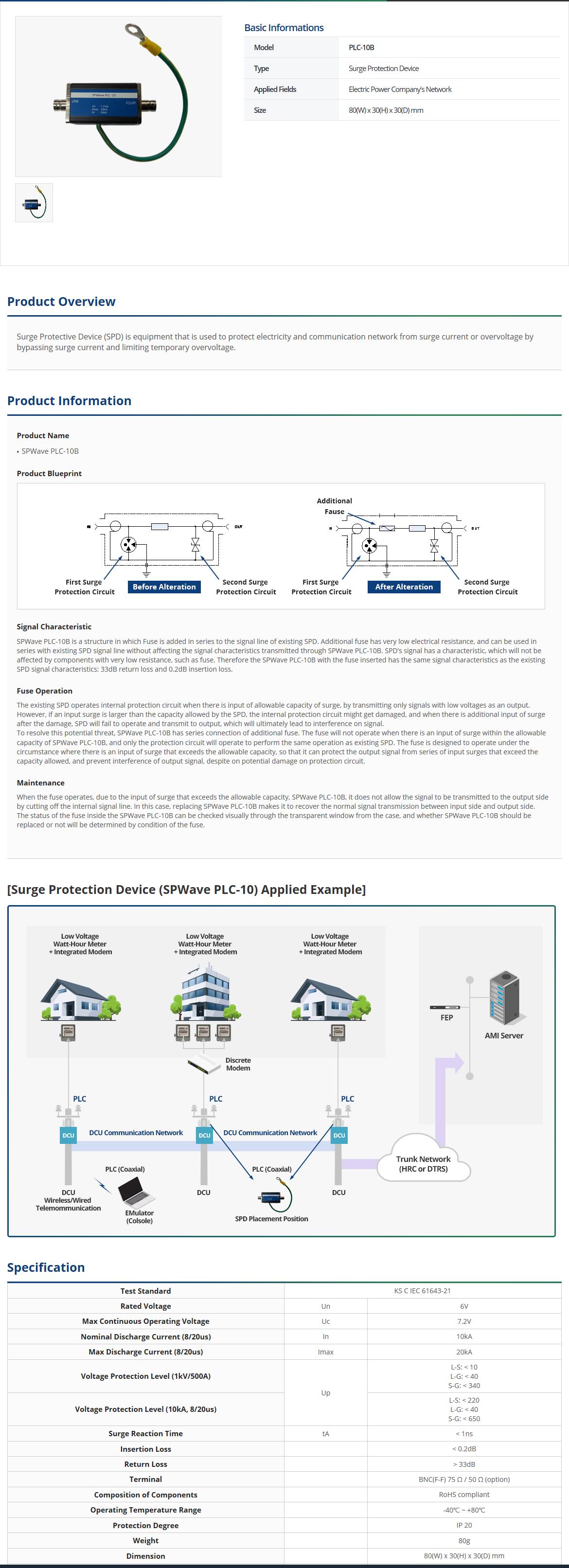 Spring Wave Information & Telecom Surge Protection Device PLC-10B