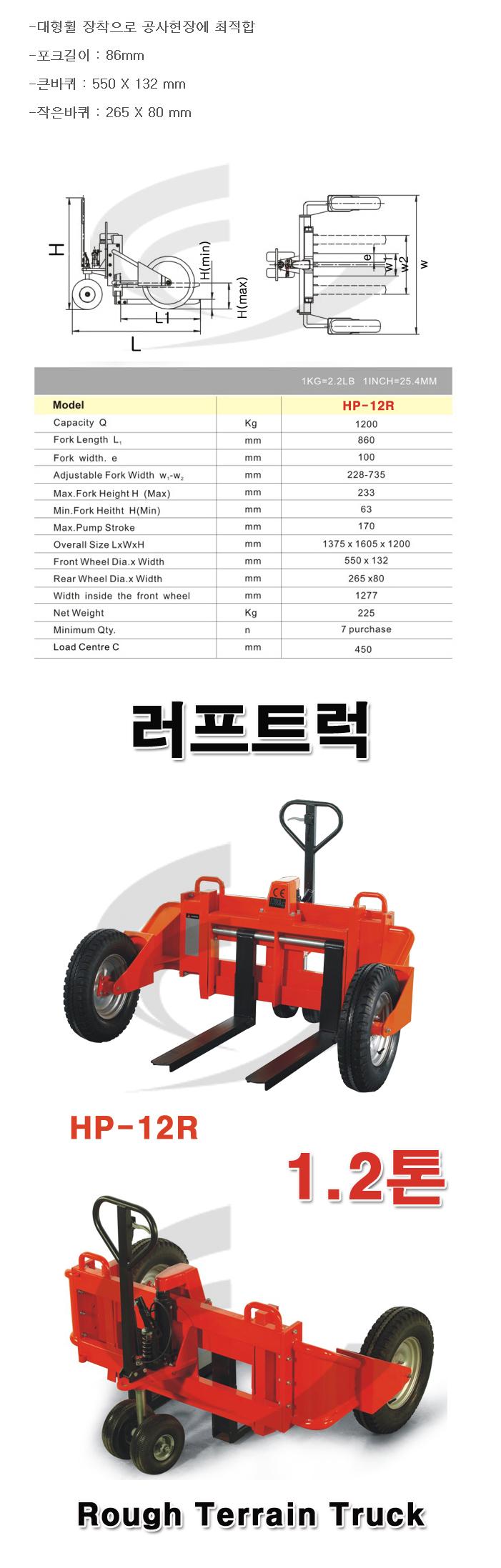 (주)쌍용리프트 러프트럭 HP-12R