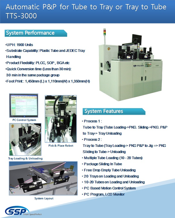SSP Automatic P&P for Tube to Tray or Tray to Tube TTS-3000