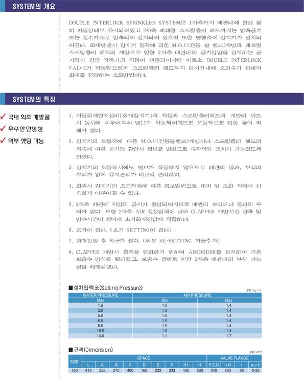 세코스프링클러(주) 더블인터록 SDI-71 1