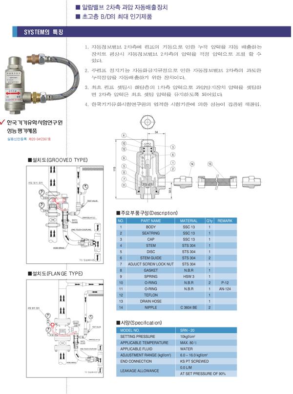 세코스프링클러(주) 과압방지장치 SRN-20