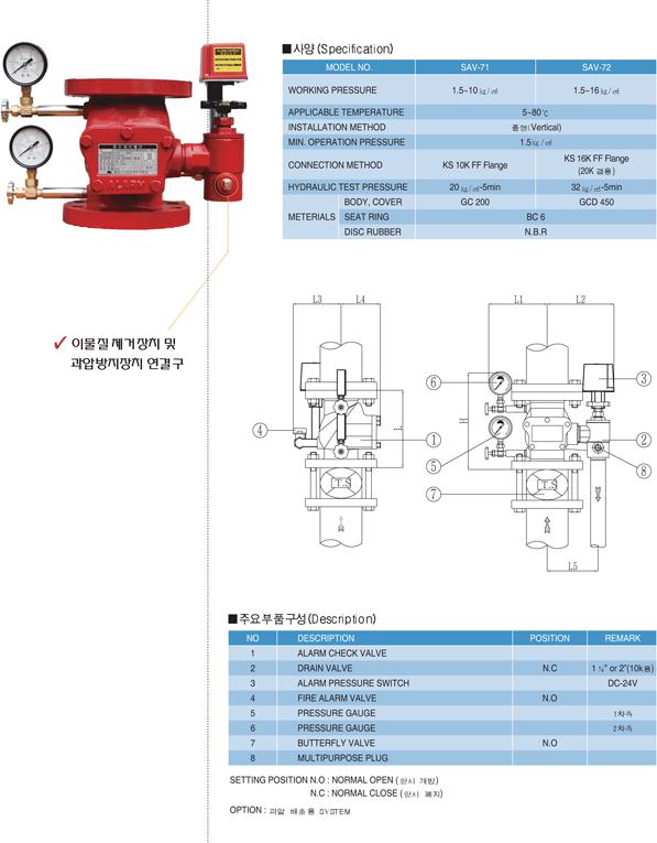 세코스프링클러(주) 플랜지형 자동 경보 밸브 SAV-71/72