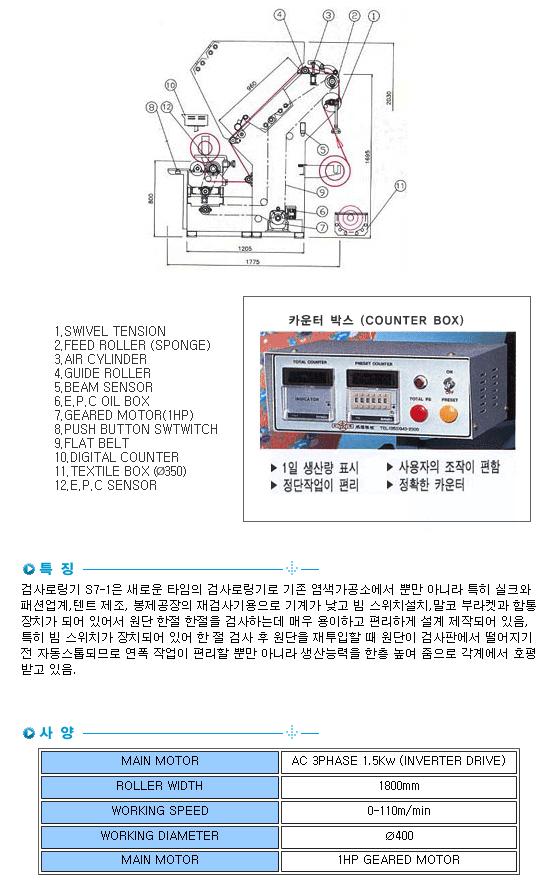 성복기계 검사로링기 SB-S7-1 1