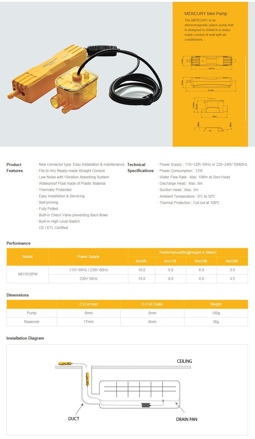 SUNGSHIN HASCO - MERCURY Mini Pump - MD1010PM - Condensate