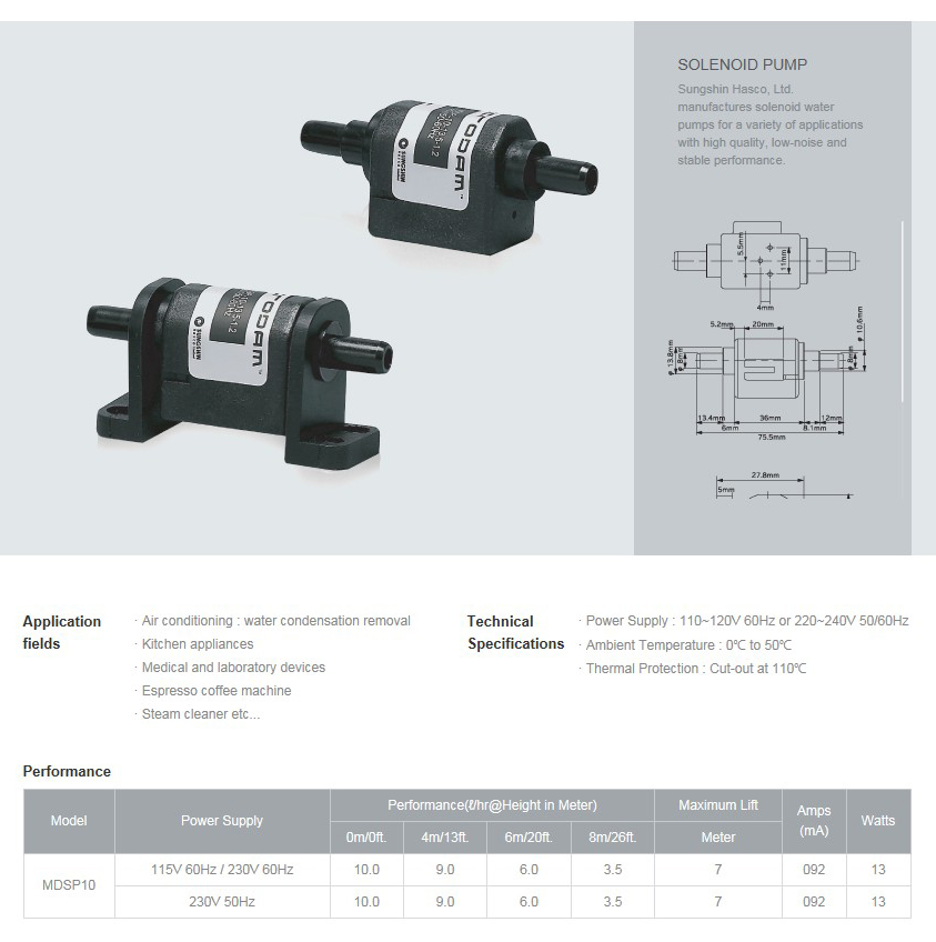 SUNGSHIN HASCO Solenoid pump MDSP10