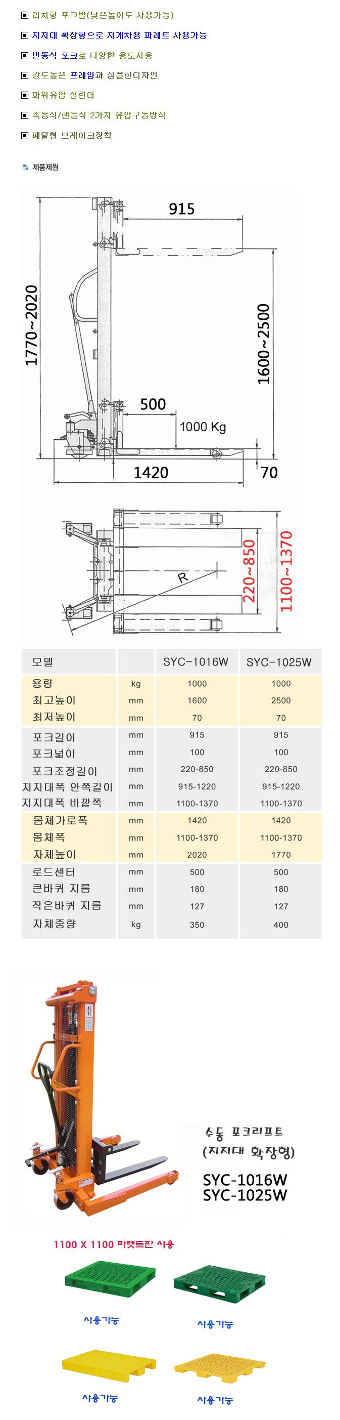 (주)쌍용리프트 수동식 확장형 스태커 SYC-1016W / SYC-1025W