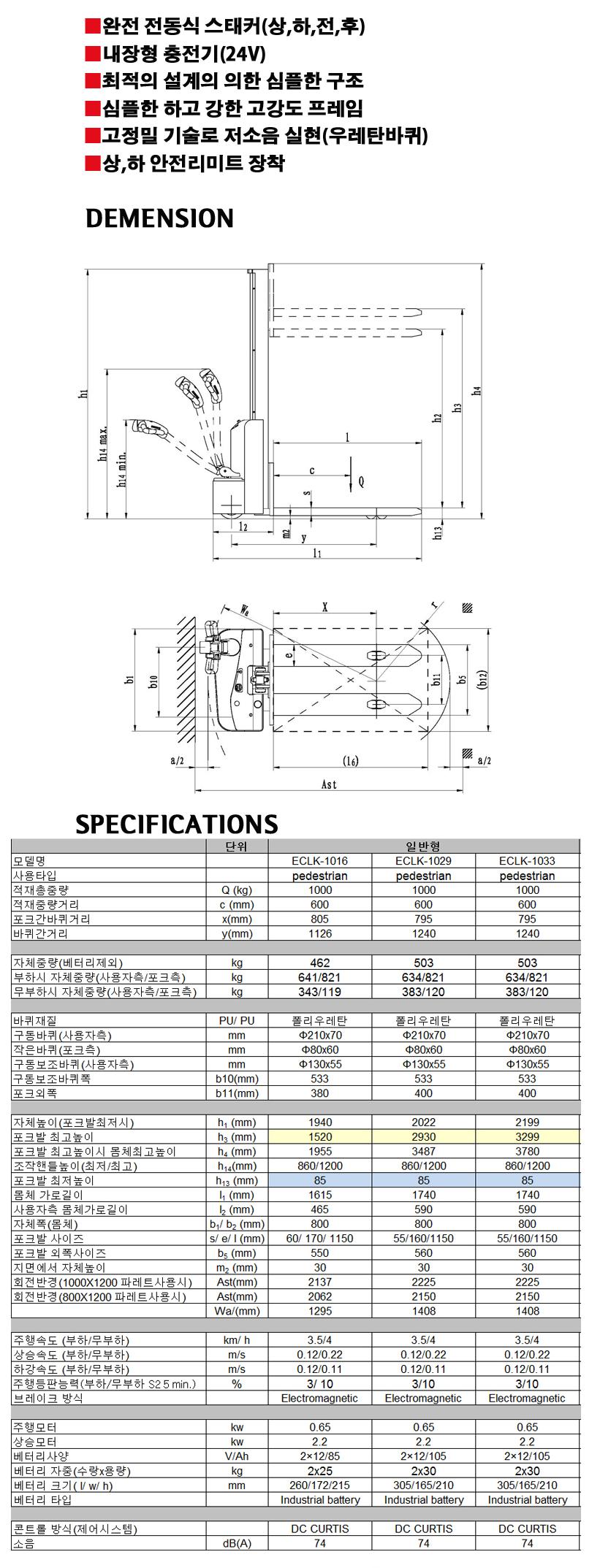 (주)쌍용리프트 전동 일반형 스태커 (주행) ECLK-1016 / ECLK-1029 / ECLK-1033