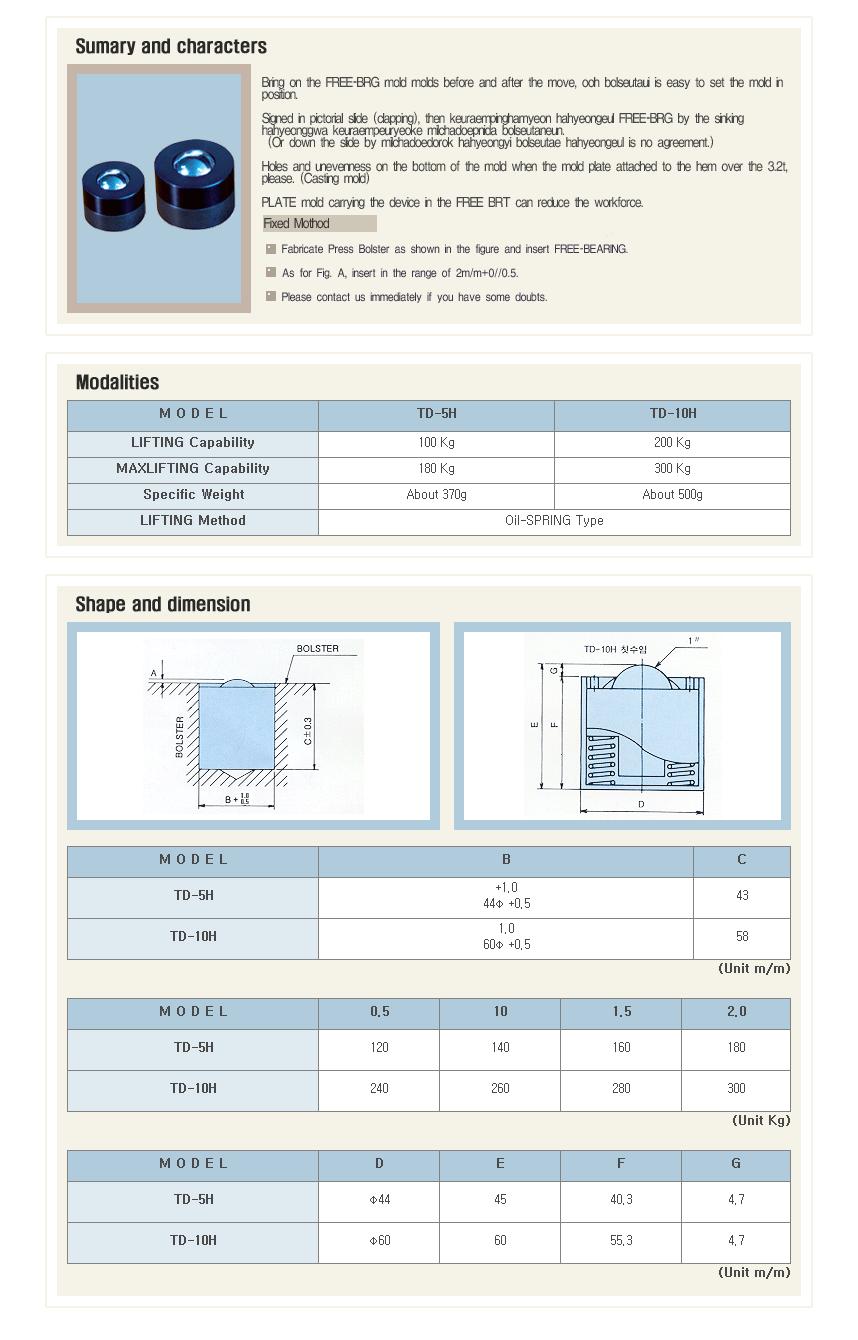 Taedo System Free Bearing TD-5H/10H