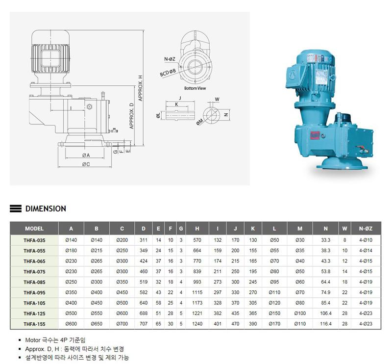 태우기계(주) Agitator (중공축 / Hollow Shaft) THFA-TYPE 1