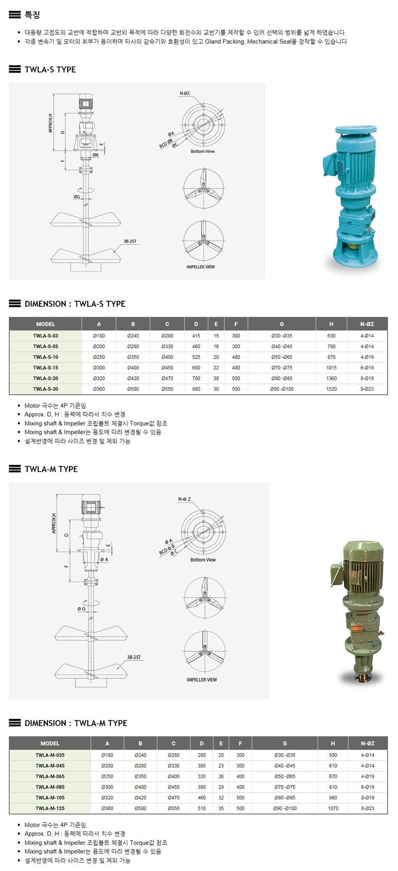 태우기계(주) Agitator TWLA-TYPE 1