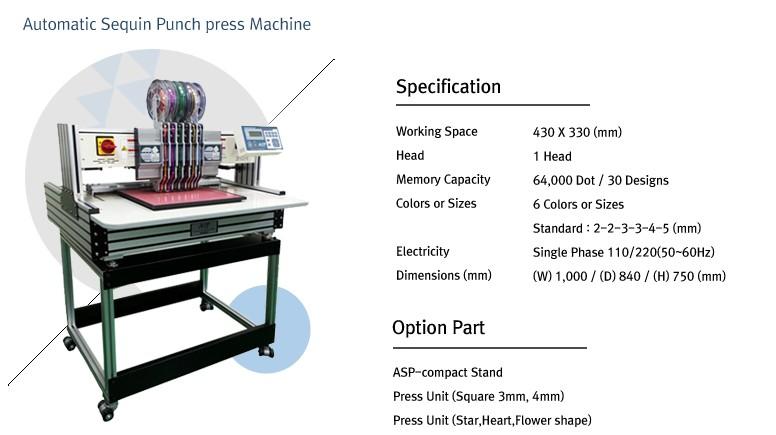 테크닉스엔지니어링 Automatic Sequin Punch Press Machine ASP-Compact 1