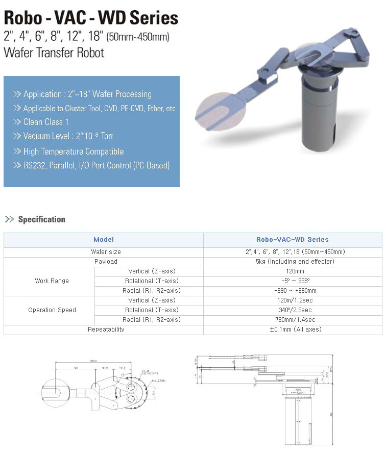 TES Wafer Transfer Robot Robo-VAC-WD Series