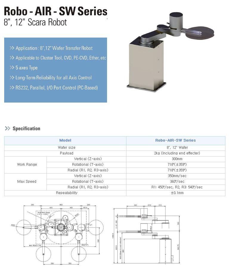 """TES 8"""", 12"""" Scara Robot Robo-AIR-SW Series"""