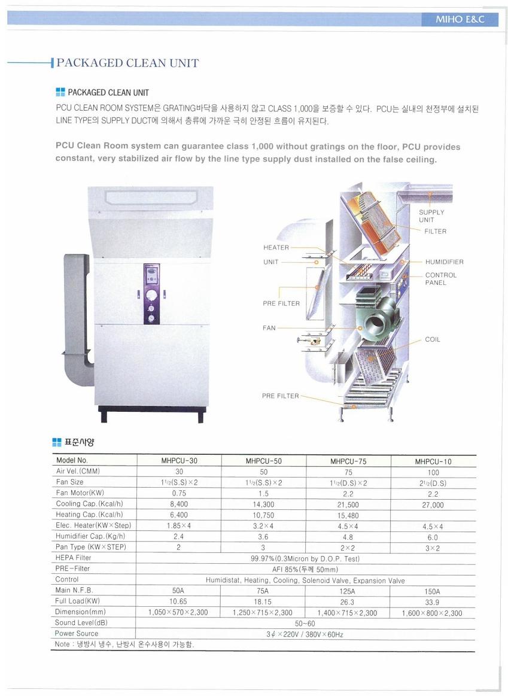 (주)미호이엔씨 패키지 크린 유닛 MHPCU-Series
