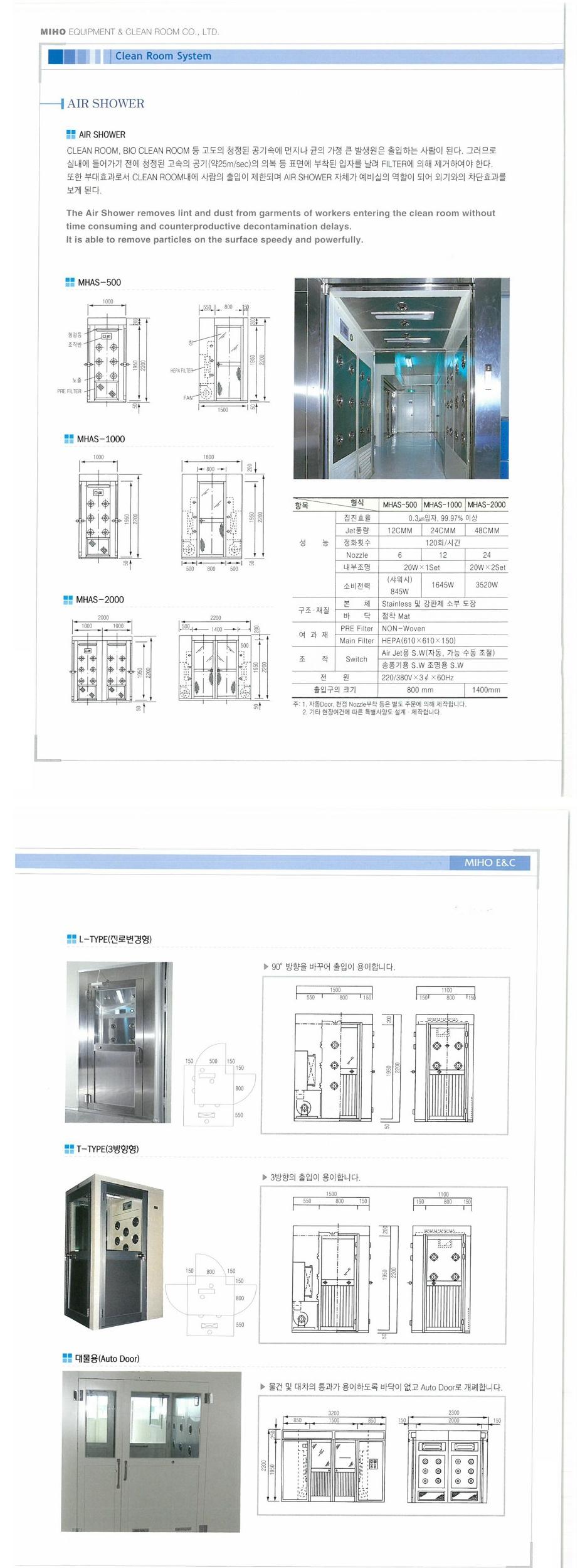 (주)미호이엔씨 에어샤워기 MHAS-Series
