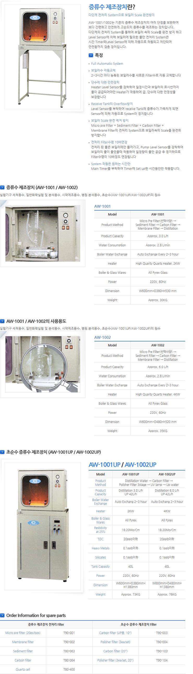 (주)탑트레이딩이엔지 초순수 증류수 제조장치 AW Series 1