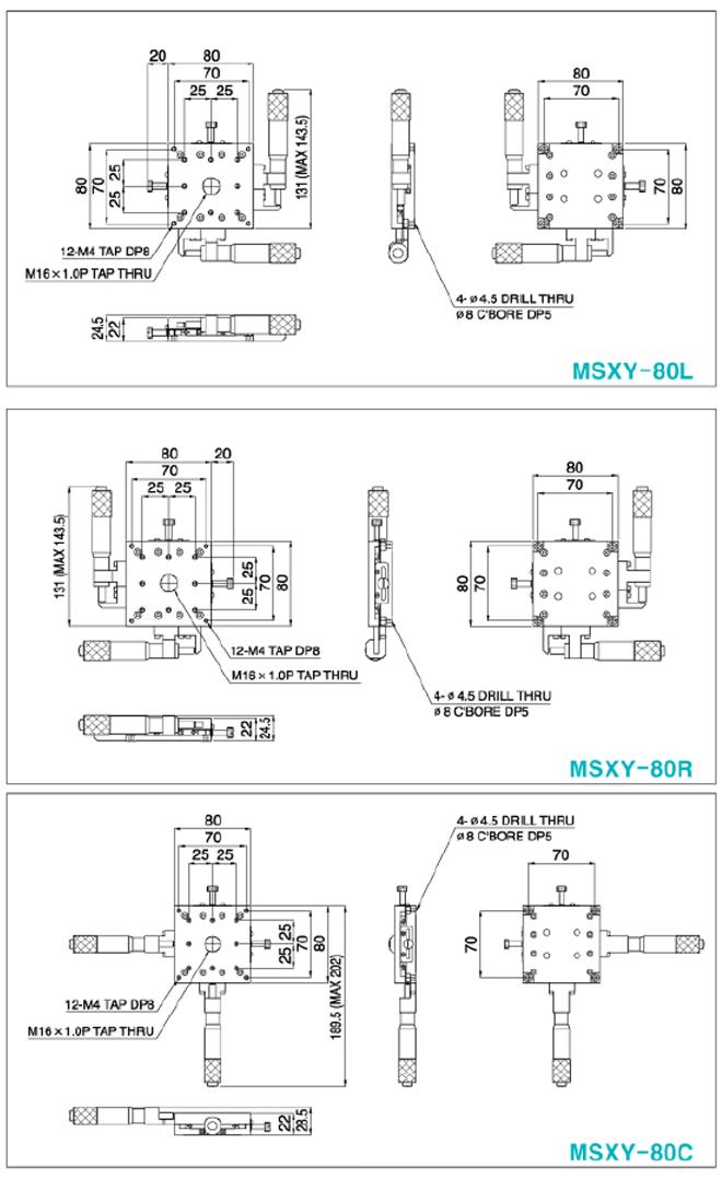 탑텍 박형XY스테이지 MSXY Series 20