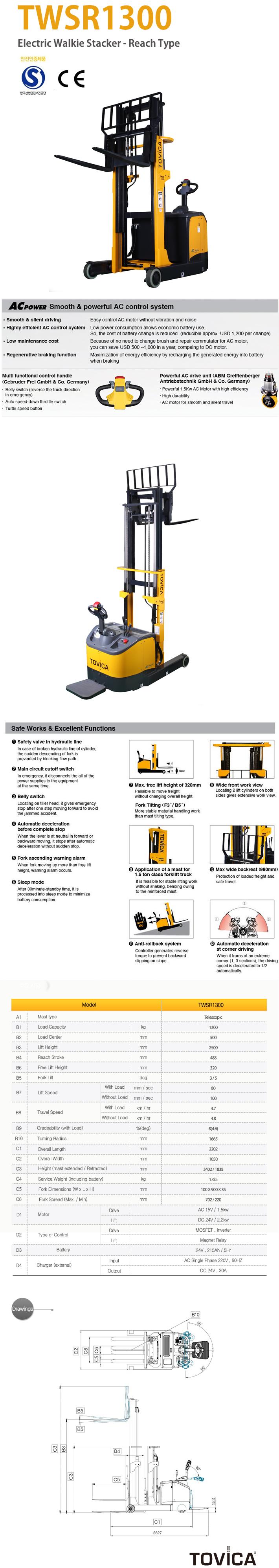 TAEJIN ENG Electric Walkie Stacker (Reach Type) TWSR1300