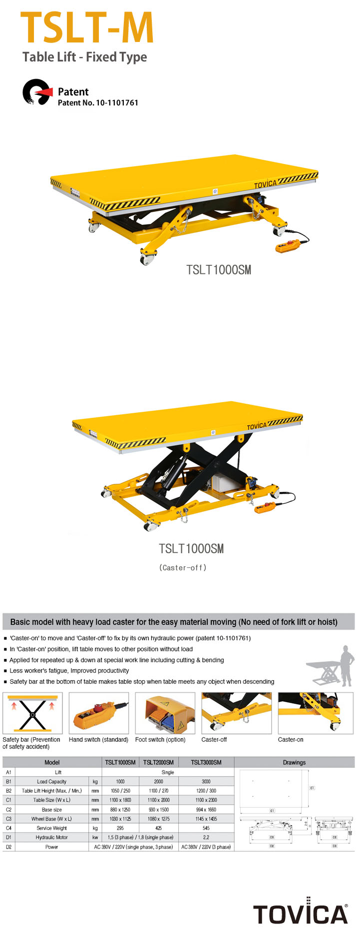 TAEJIN ENG Table Lift (Fixed Type) TSLT-M