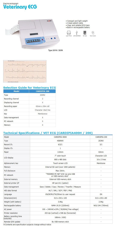 TRISMED Electrocardiograph CARDIPIA 200