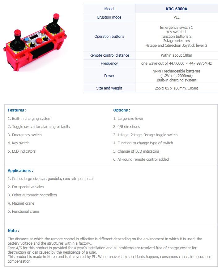 TRSYSTEM Industrial Wireless Remote Control KRC-6000A