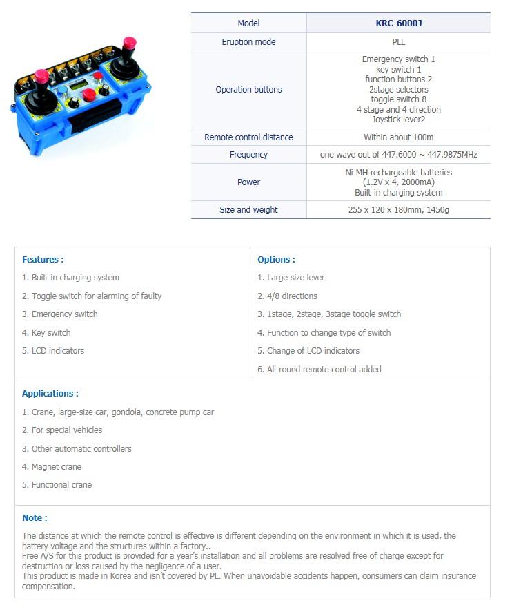 TRSYSTEM Industrial Wireless Remote Control KRC-6000J