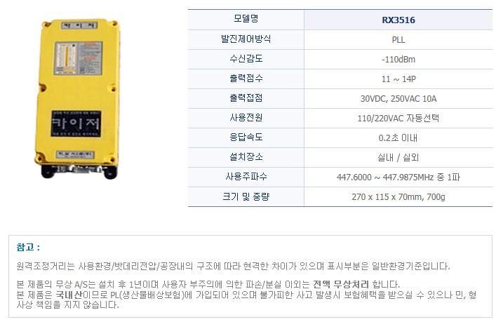 (주)티알 시스템 산업용 무선리모콘 RX3516 1