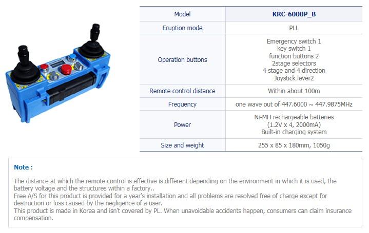 TRSYSTEM Industrial Wireless Remote Control KRC-6000P_B