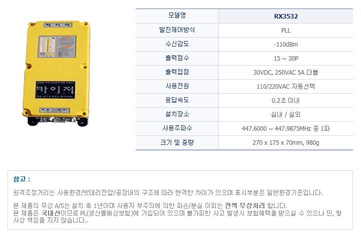 (주)티알 시스템 산업용 무선리모콘 RX3532 1