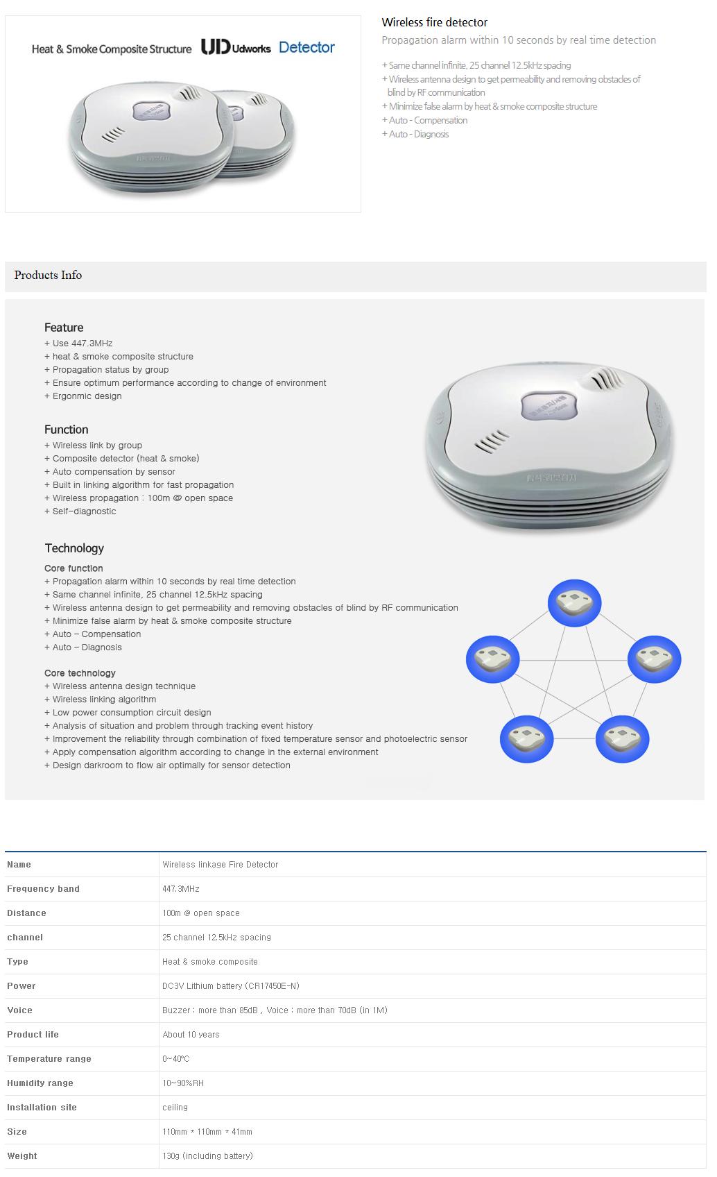 (주)유디웍스 Wireless fire detector