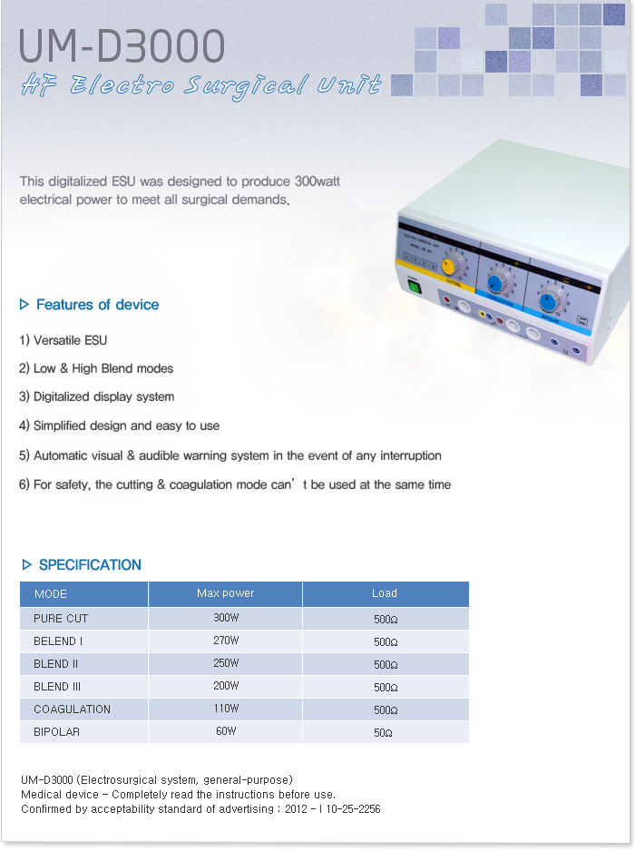 UNION MEDICAL HF Electro Surgical Unit: UM-D3000