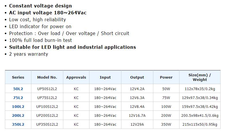 유니온전자통신 Low Cost Power Supply UP-L2/L Series