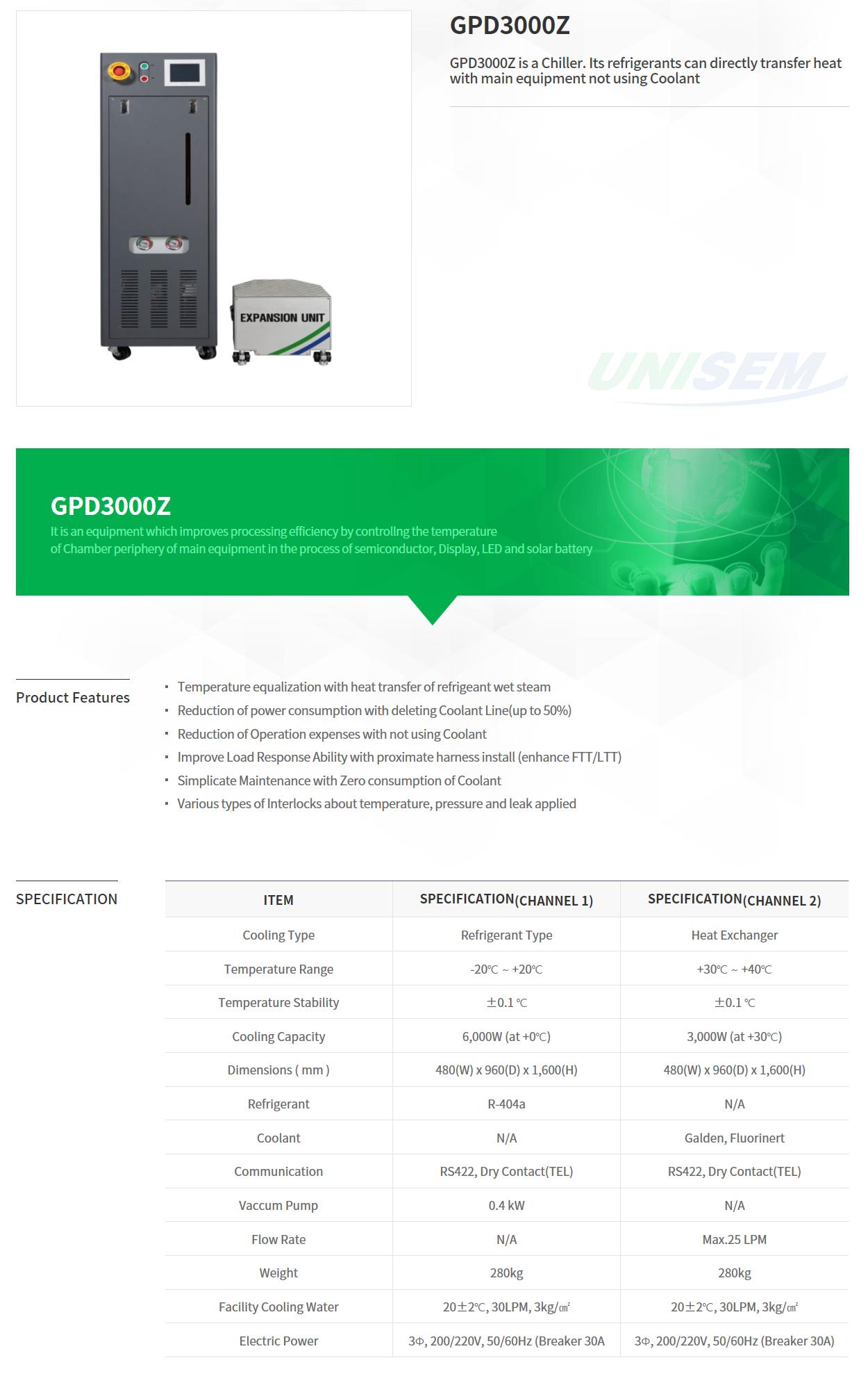 UNISEM Direct Chiller GPD3000Z