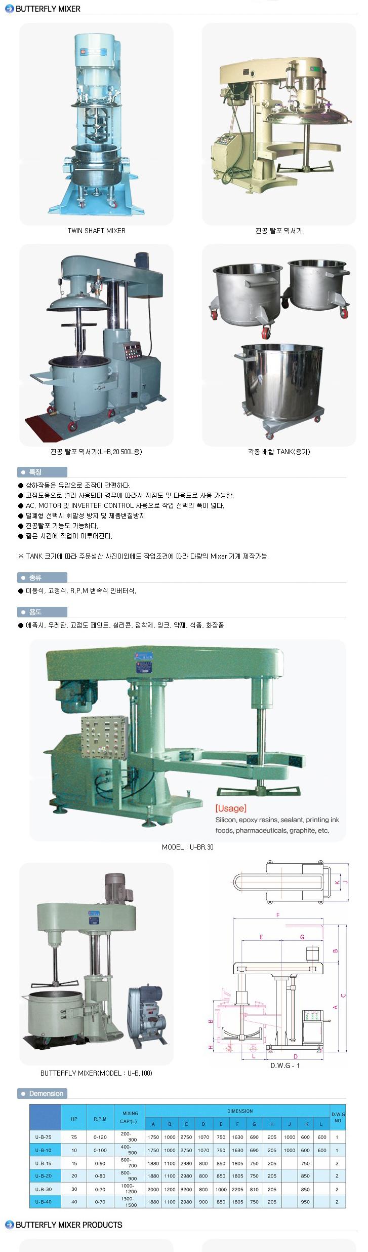 유니텍(주) 고점도용 믹서 U-B-Series 3
