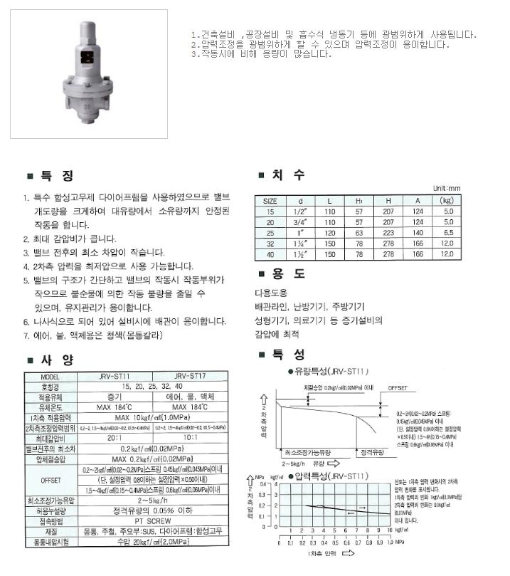 대유상공 직동식 감압밸브 (RV-C) JRV-ST11