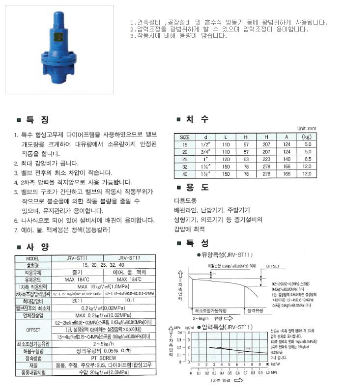대유상공 직동식 감압밸브 JRV-ST17