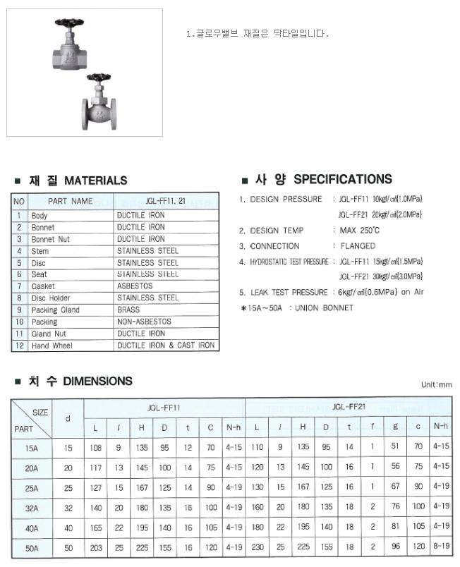 대유상공 글로우밸브 JGL-FF11